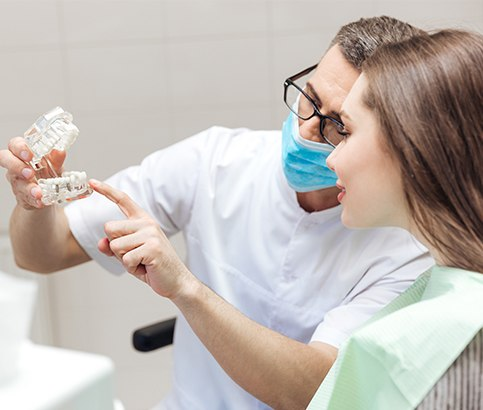 dentist showing a patient how dental implants work in Reno